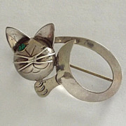 ECM Mexico 925 Silver Winking Cat Pin