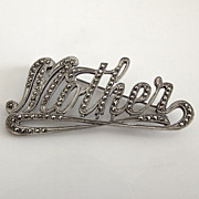 G & S Sterling and Marcasite Mother Pin