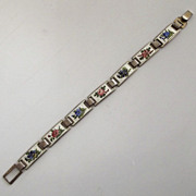 830 Silver Ottar Hval Enamel Floral Bracelet