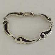 Taxco Mexico 925 Sterling Bracelet with Inlaid Panels