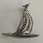Sterling and Marcasite Sail Boat Pin
