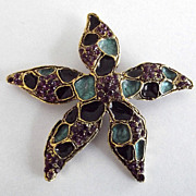 Craft Purple Rhinestone Blue and Black Enamel Starfish Pin