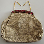 Magnificent Jeweled Clasp Purse Hand Bag with Floral Brocade