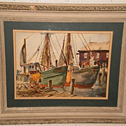 """The Mary Ann & the Joseph M"" Fishing Boats W/C-40s-Henry Gasser"