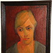 Expressionist Musing Woman Portrait Oil Painting-1964-August Mosca