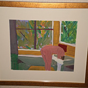 August Mosca-Nude Washing Hair Fauve Gouache Painting-1969