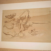 Fantasy on Picasso-Women In Flight with Shells-Silverpoint -1971-August Mosca