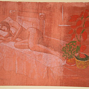 Red Nude Sleeping-Silverpoint,Oil & Pencil-70s-August Mosca