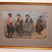 Lambro Ahlas-Four Young Women Dancing Painting-1982