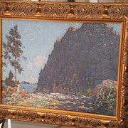 "Gustave Cimiotti-""The Cliff"" Oil-Mt Mansfield,Vt-C.1910"