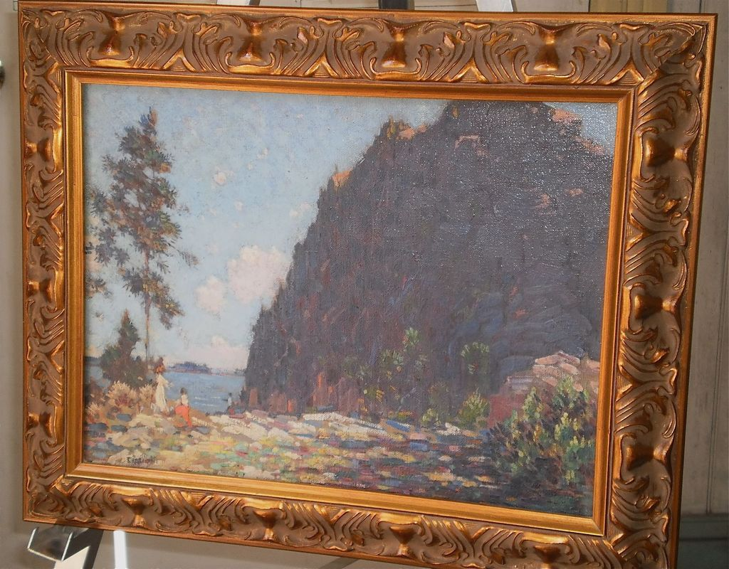 Gustave Cimiotti-&quot;The Cliff&quot; Oil-Mt Mansfield,Vt-C.1910