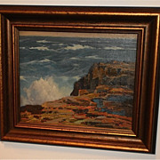"Gustave Cimiotti-Seascape Oil Painting-13 x 16""-1930s-Framed"