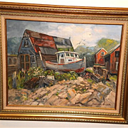 """Boatyard in Southport"" Oil Painting-1970s-Frank Zuccarelli"