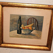 Fruit,Bottle,Chair Still Life Oil-Frank Zuccarelli-1952