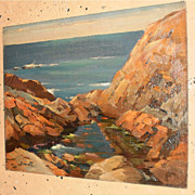 Gustave Cimiotti 13 x 16 Seacscape & Rocks Oil Painting-1930s