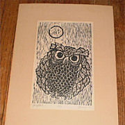 """Grey Owl"" Woodcut-13/13-1968-William Gorman"