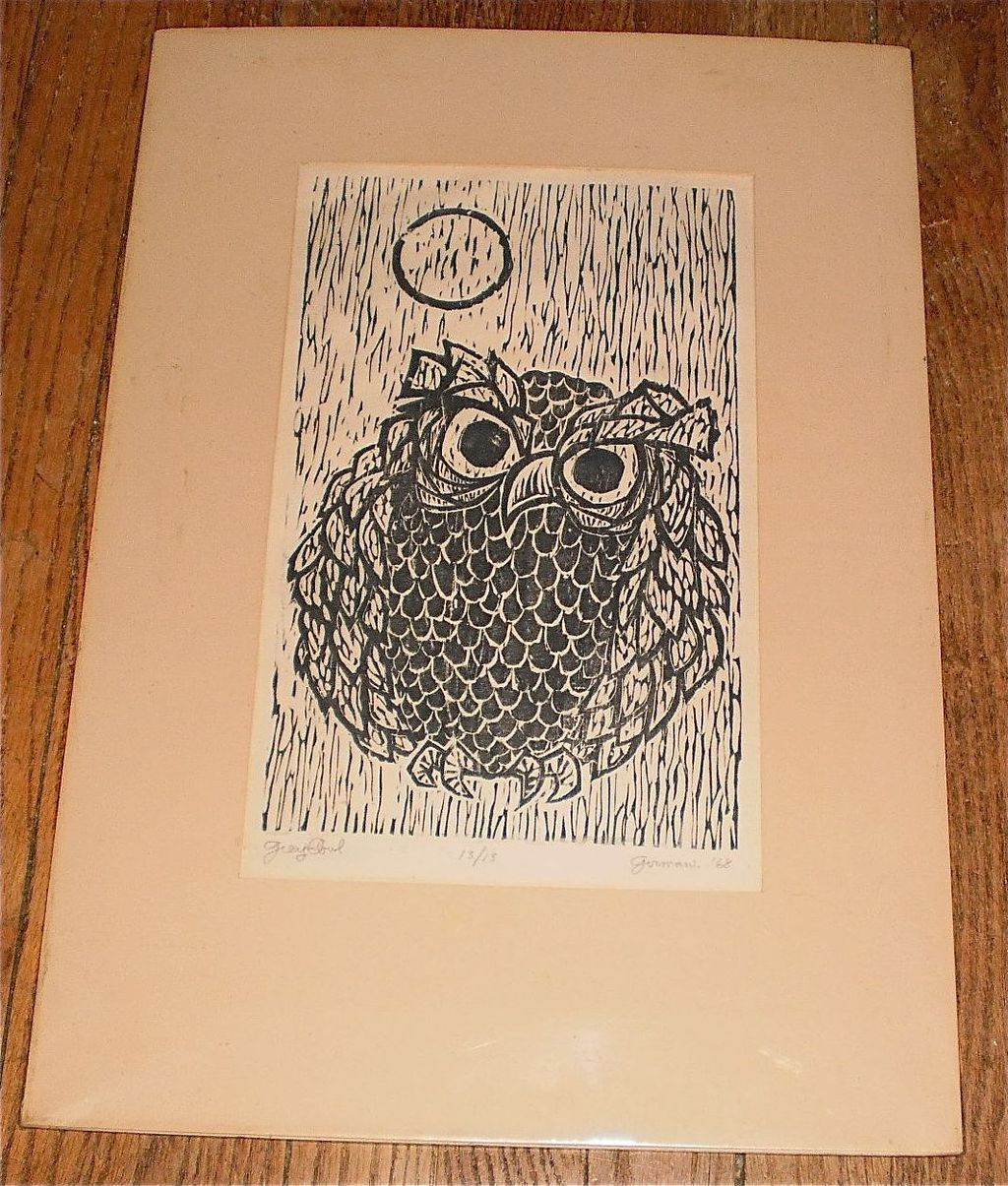 &quot;Grey Owl&quot; Woodcut-13/13-1968-William Gorman