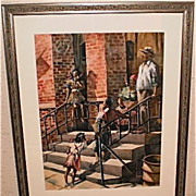"""Colored Family"" On Newark Stoop Watercolor-1950s-James Carlin"