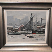 Connecticut River,Hartford Snow Scene-30s-Arthur Lingquist