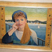 "August Mosca ""Girl With Blue Beret""/Shelter Island Painting-1990"