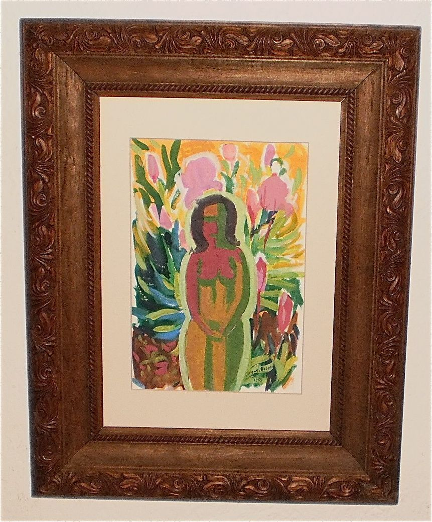 Nude Among Flowers Fauve Painting-1969-August Mosca
