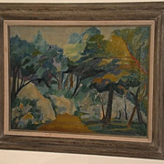 Path in Woods Modernist Painting-1968-August Mosca