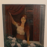 August Mosca 48 x 30 Girl In Window With Peonies Painting-1960s