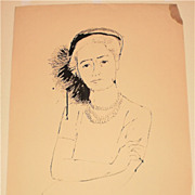 """Girl With Feathered Hat"" Ink Drawing-1956-August Mosca"