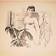 """Girl With Avacado Leaves"" Nude Litho-14/18-August Mosca"