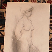 Sensual Nude Drawing-Mixed Media-1963-August Mosca