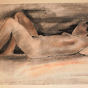 Nude Sleeping Mixed Media Drawing-30x20-1955-August Mosca