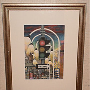 One Way Sign In City-Modernist Litho-13/25-August Mosca