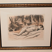 """Sleeping"" Nude Artist Proof Litho-50s-August Mosca"
