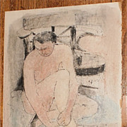 Nude Sitting on Blanket Crayon Drawing-1957-August Mosca