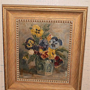 Pansies Flower Still LIfe Oil Painting-1950s-Ruth Mould