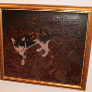"""Cat on an Oriental Rug"" Oil Painting-Otto Rothenburgh"