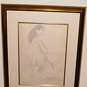 Raphael Soyer-Nude Pencil Drawing-17 x12 1/2