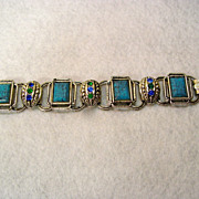 Southwest Design Bracelet Faux Turquoise and Rhinestone Accents
