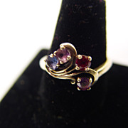 SALE 10KT Gold Ring With Purple & Blue Topaz Topped By Royal Red Ruby