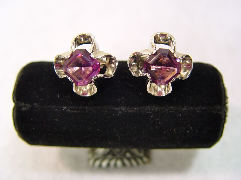 Park Lane Earrings Large Deep Purple Eye Stones In Silver Tone Petal Settings