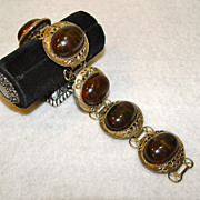 Bracelet Coffee Bean or Chocolate With Ornate Gold Tone Framing