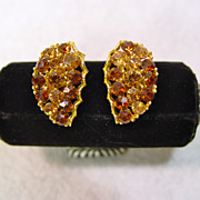 Honey Amber Rhinestone Earrings Created By Lisner