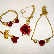Ruby Red Rose Set Bracelet Pin Necklace and Necklace Pendant
