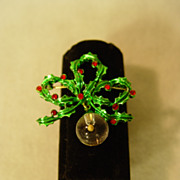 Mustard Seed Christmas Pin Flowing Ribbon And Symbol of Faith