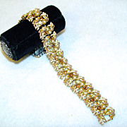 Bracelet Faux Citrine Topaz and Pearls Settled in A Leafy Bed Of Gold Tone