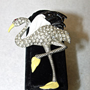 Flamingo Pin Take a Walk On The Wild Side Rhinestone Exotica