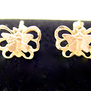 14KT Gold Butterfly Pierced Earrings