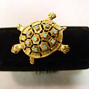 14KT Gold Turtle Sea Foam Blue Green Opals With Pink Center Fire