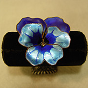 David Anderson Norway Sterling Silver Gulloche Enamel Pansy Flower Pin