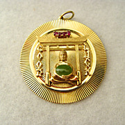 Dankner Gold Pendant 14KT Set With Oriental Jade and Rubies